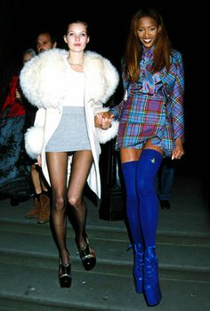 The Early Years  Kate Moss with Naomi Campbell at The Museum Of Natural History in 1991.      Read more: Kate Moss Iconic Fashion Looks Photos - Kate Moss Famous Outfits - Harper's BAZAAR