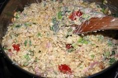 Divine Macaroni Salad - Kitchen ♥ Love - This macaroni salad is addictively delicious ! I always fill a large pan so that we can eat it fo - Good Healthy Recipes, Healthy Breakfast Recipes, I Love Food, Good Food, Easy Diner, Food Porn, Comfort Food, International Recipes, No Cook Meals