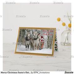 Merry Christmas Santa's Sleigh Snow Scene Holiday Card