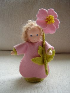 """Nature table doll, approx. 6"""" tall, by Poppelien of the Netherlands."""