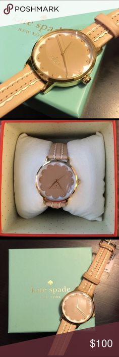 Kate Spade Watch I'm selling this never worn before Kate spade watch. It's tan and has beautiful and elegant detailing. Never worn before. It comes with box, info booklet, watch, and little plush. STILL HAS TAG! Battery still works 💖 kate spade Accessories Watches