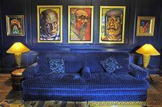 Blue sofa and original antiques