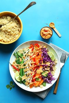 Quinoa Gado-Gado with Veggies and SPICY Peanut Sauce. 30 minutes!