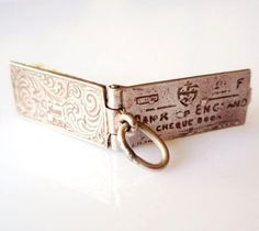 Vintage Silver Nuvo Cheque Book Charm & Pink Cheque
