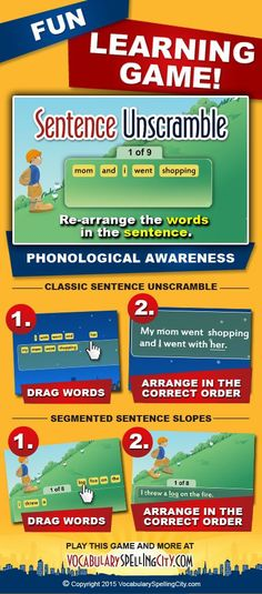 Use Sentence Unscramble on VocabularySpellingCity.com to enable students to construct context-rich sentences using spelling and vocabulary words.