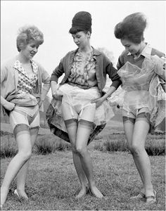"""""""Look at that hair, hose, garter belt, crinolins --my,what women have had to put up with in the name of fashion!"""""""