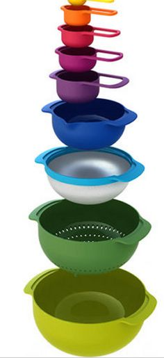 A rainbow set of bowls and measuring cups will entice your children to help you in the kitchen.