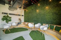 A bright and cheery park like setting for meetings in the modern office.