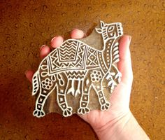 Camel Stamp, Hand Carved Wood Stamp, Clay Stamp, by DelhiDaze, $26.00