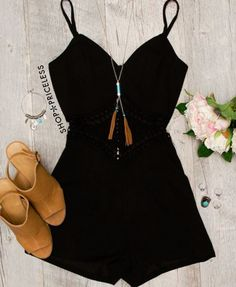 - Details - Size Guide - Model Stats - Contact Clear skies ahead! This Britta Romper in black features a lightweight, knit fabric with stretch. Featuring a sweetheart bust and square back. Spaghetti s