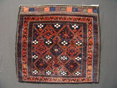 "19th C. Baluch bag, silk highlights, excellent condition, 2'-4""x2'-8"" (71x81cm)"