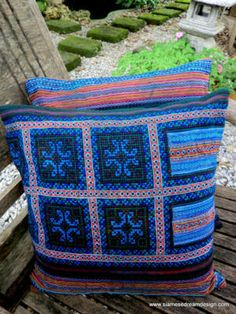 Repurposed Hmong embroidery pillow or cushion cover.