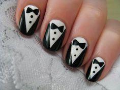 Cute & Simple Tuxedo Nail Art Design By 'CutePolish' #cutepolish #nailart