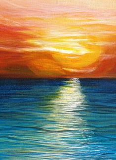 """Close up of K. Conover's acrylic painting: """"Beach Sunset"""" 2012. (24 x 30) SOLD.  Water painting of the sun's reflections at sunset"""