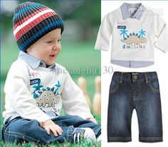 Children Suit Boy Long Sleeve Polo T-shirt Kids Tops+Jeans for 1-6T Baby Boy Fashion Match 2013 Kids Wear 5 Sets/lot with $14.42-16.37/Set|DHgate