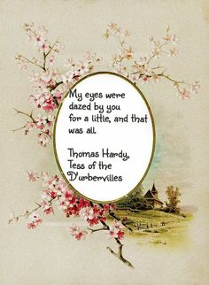 My eyes were dazed by for a little, and that was all. Thomas Hardy, Tess of the D'urbervilles