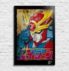 Daitarn 3 (Y.Tomino - K.Okawara) - Quadro Pop-Art Originale con Cornice, Dipinto, Stampa su Tela, Poster Locandina Anime, Manga, Super Robot, Mecha, Go Nagai