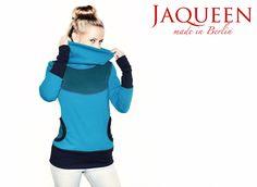 Hoodies - Hoodie Kragen Baumwolle türkis - ein Designerstück von JAQUEEN-handmade-streetwear-berlin bei DaWanda