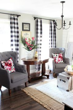 2017 Summer Home - Living Room with Black and White Buffalo Check Curtains