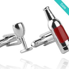 IN STORE Men's Silver Tone 3d Wine Bottle and Glass Silver Tone Cuff Links - AVAILABLE NOW IN STORE A must have for your dress shirt. - On Sale for $15.00 (was $29.00)