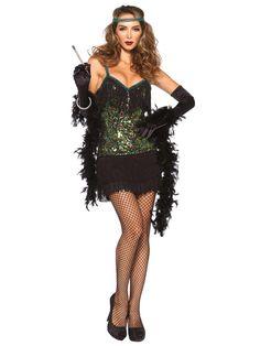 Edles 20er Jahre Damenkostüm Flapper schwarz-gold aus unserer Kategorie Sexy Damenkostüme. Mit diesem tollen Flapperkleid holen Sie die 20er Jahre auf jede Tanzfläche! Ein atemberaubendes Faschingskostüm, mit dem Sie allen die Show stehlen!