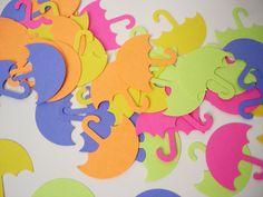 50 Bright Colors Umbrella punch die cut cutout confetti scrapbooking embellishments - No593. $3.00, via Etsy.