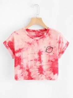 SheIn offers Water Color Cuffed Tee & more to fit your fashionable needs. SheIn offers Water Color Cuffed Tee & more to fit your fashionable needs. Tie Dye Outfits, Crop Top Outfits, Cute Casual Outfits, Casual Tie, Teen Fashion Outfits, Outfits For Teens, Girl Outfits, Diy Fashion, Tomboy Outfits