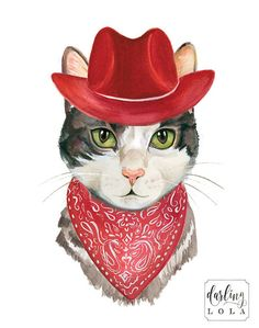Adorable Cowboy Cat Art print. This is a print of my original watercolor illustration.   Print Details:  Available in 8x10 or 11x14 inches.