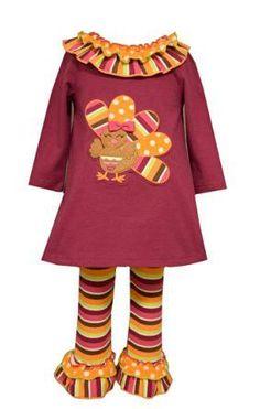 Bonnie Jean Girls Plum Thanksgiving Turkey Outfit