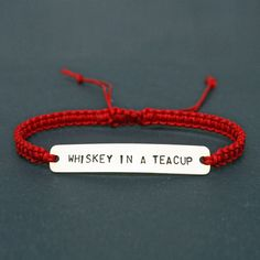 'Whiskey in a Teacup' Lyric Macramé Friendship Bracelet #TomWaits #BlackMarketBaby #WhiskeyInATeacup #mensjewellery #friendshipbracelet #bestman