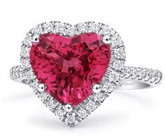 Spinel and Diamond Heart Ring by Coast Diamond Heart Engagement Rings, Perfect Engagement Ring, Jewelry 2014, Jewellery, Fine Jewelry, Unique Jewelry, Red Spinel, Platinum Diamond Rings, Pink Gemstones