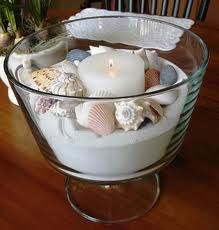 candle surrounded by shells in white sand - centerpiece