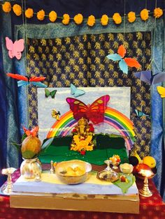 Rainbow Butterfly Garden For Ganesh Ganpati With Origami Butterflies And Handmade Styrofoam