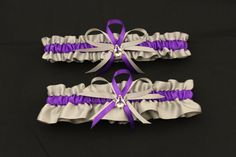 Silver and Purple Satin Wedding Garter Set with by StarBridal