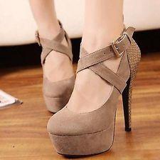 Women's High Heels Stilettos Pump Shoes Platform Ankle Buckle Strappy HOT--US HF