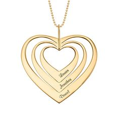 Family Hearts necklace in Gold Vermeil Family Necklace, Circle Necklace, Name Necklace, Gold Necklace, Personalized Jewelry, Custom Jewelry, Style Doux, Meaningful Gifts, Bridal Jewelry