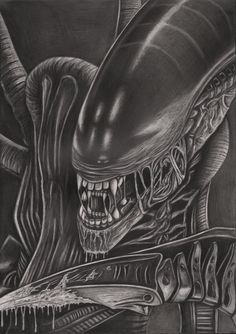 A graphite drawing of the xenomorph 'Alien. This one is with no background,, the full final version with black background is in my gallery. I decided to. 'Alien' (no background) Graphite Art, Graphite Drawings, Art Alien, Giger Alien, Giger Art, Alien Isolation, Alien Drawings, Predator Alien, Alien Tattoo