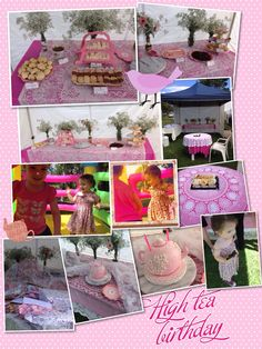 My pink n white party table.  I created fancy lables for bottles to hold the babies breath..  Home made scones, pink maderia cake, finger sandwiches, mini quiches, assorted tarts, brownies, Choc sticks (store brought), tea-bag shaped cookies half dipped in chocolate.  Had a table for some cute store brought fancy cheeses..  Tea Pot cake made by Sweet Valley cakes (qld)