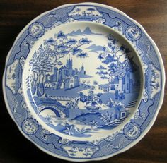 Blue White Transferware Chinoiserie Exotic Asian Castle Garden Plate - Decorative Dishes