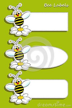 Labels With Bee, Illustration For Kids Stock Vector - Illustration of design, garden: 25964657 Animal Print Classroom, Bee Illustration, Label Image, Bug Crafts, Spelling Bee, Bee Party, Bee Theme, Preschool Activities, Daisy