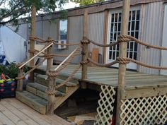 8x16 Deck looks like a Pier. Complete with 100' of Manila Rope