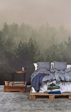 amidst-the-mist-forest-mural-wall-mural