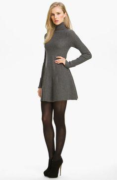 Easy Casual Dress:  autumn cashmere Flared Rib Knit Sweater Minidress