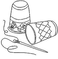 Needle and antique thimble pattern