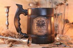 Witcher Mug Geralt Medallion Personalized Gift Witcher Gamer gift Witcher Wolf Gift Wolf Gift Witcher Custom Tankard Gift for Gamer One Year Anniversary Gifts, Boyfriend Anniversary Gifts, Boyfriend Gifts, Wooden Beer Mug, Diy Gifts For Him, Leather Label, Gamer Gifts, Fan, The Witcher