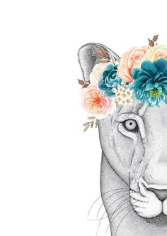 Each one of Donna's illustrations are hand drawn by layering dots, thousands of tiny dots. Linda the Lioness with Flower Crown took multiple attempts and 300+ h