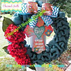 FALL Burlap Cross wreath Burlap floral wreath by CharmedSouth www.charmedsouth.etsy.com fall hydrangea with turquoise burlap burlap wreath, spring wreath, floral wreaths, wreath inspir, cindi wreath