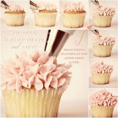 Such a cute way to frost cupcakes! Frosting Cupcakes The Ruffle Flower Pile Up Method Frost Cupcakes, Mocha Cupcakes, Velvet Cupcakes, Vanilla Cupcakes, Deco Cupcake, Cupcake Cookies, Cake Decorating Tips, Cookie Decorating, Cupcake Decorating Techniques