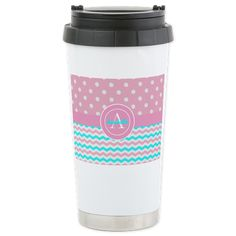 Pink Blue Polka Dot Chevron Travel Mug on CafePress.com