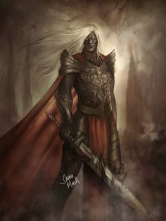 Anomander Rake by ceriselightning on DeviantArt. Really great art. I would probably make the cloak black or dark grey and Dragnipur black but otherwise just how I pictured him